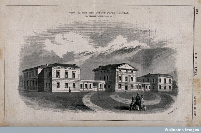 V0013546 London Fever Hospital, Liverpool Road, Islington: viewed fro Credit: Wellcome Library, London. Wellcome Images images@wellcome.ac.uk http://wellcomeimages.org London Fever Hospital, Liverpool Road, Islington: viewed from the north. Wood engraving by C. D. Laing, 1848. 1848 after: Charles Fowler and Charles D. LaingPublished:  -  Copyrighted work available under Creative Commons Attribution only licence CC BY 4.0 http://creativecommons.org/licenses/by/4.0/