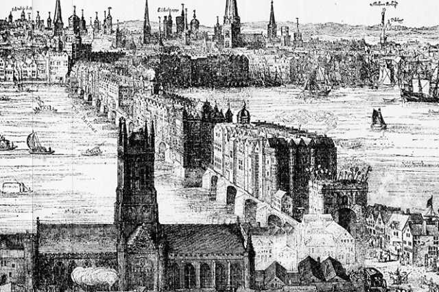 London Bridge (1616) with Southwark Church in the foreground (Wikipedia)