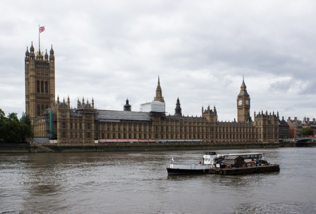The Houses of Parliament opposite the Albert Embankment