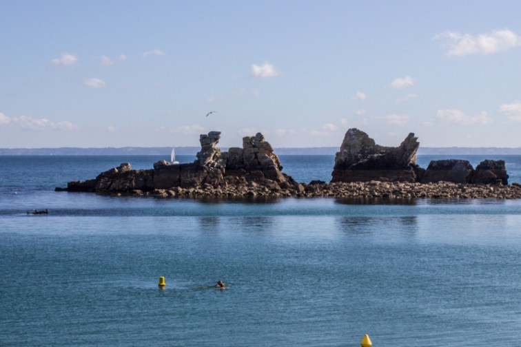 Swimming just beyond the breakwater at Morgat