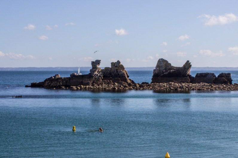Swimming just beyond the breakwater at Morgat