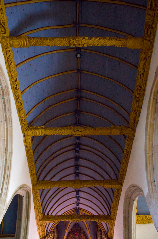 Barrel-vaulted ceiling in Bodilis Church