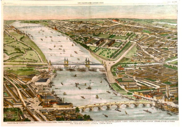 Battersea, Victoria, & Vauxhall Bridges, 1859 (https://commons.wikimedia.org/wiki/File:ILN_Vauxhall,_Victoria_%26_Battersea_bridges.jpg)