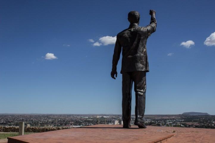 Statue of Nelson Mandela overlooking Bloemfontein