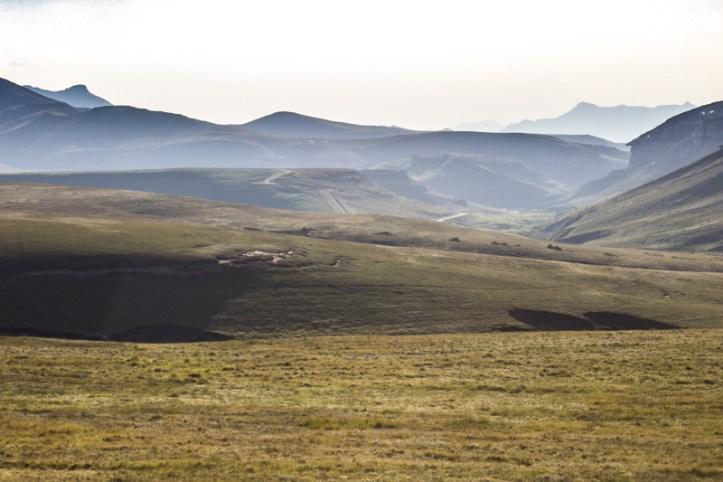 The Oribi Loop grasslands in the evening light