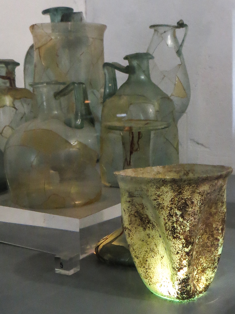 Roman glassware in the Archaeological Museum, Vila Vicosa