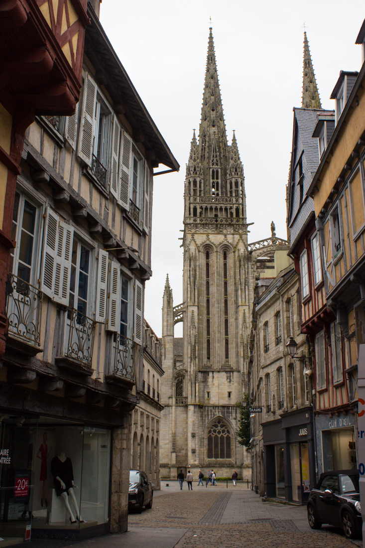 The Rue Kereon leading to the Cathedral of St Corentin