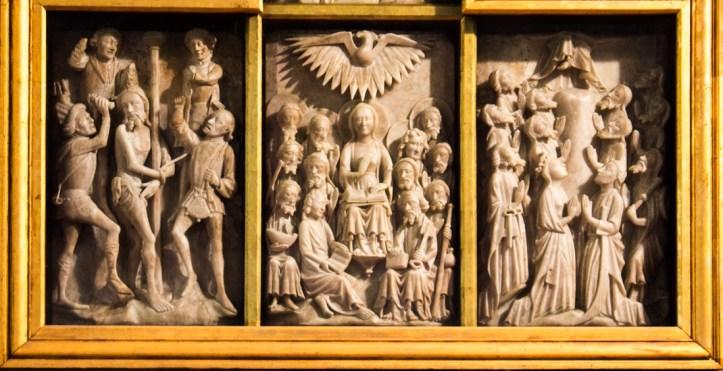 Alabaster carved screen in Notre Dame de Croas Batz, Roscoff
