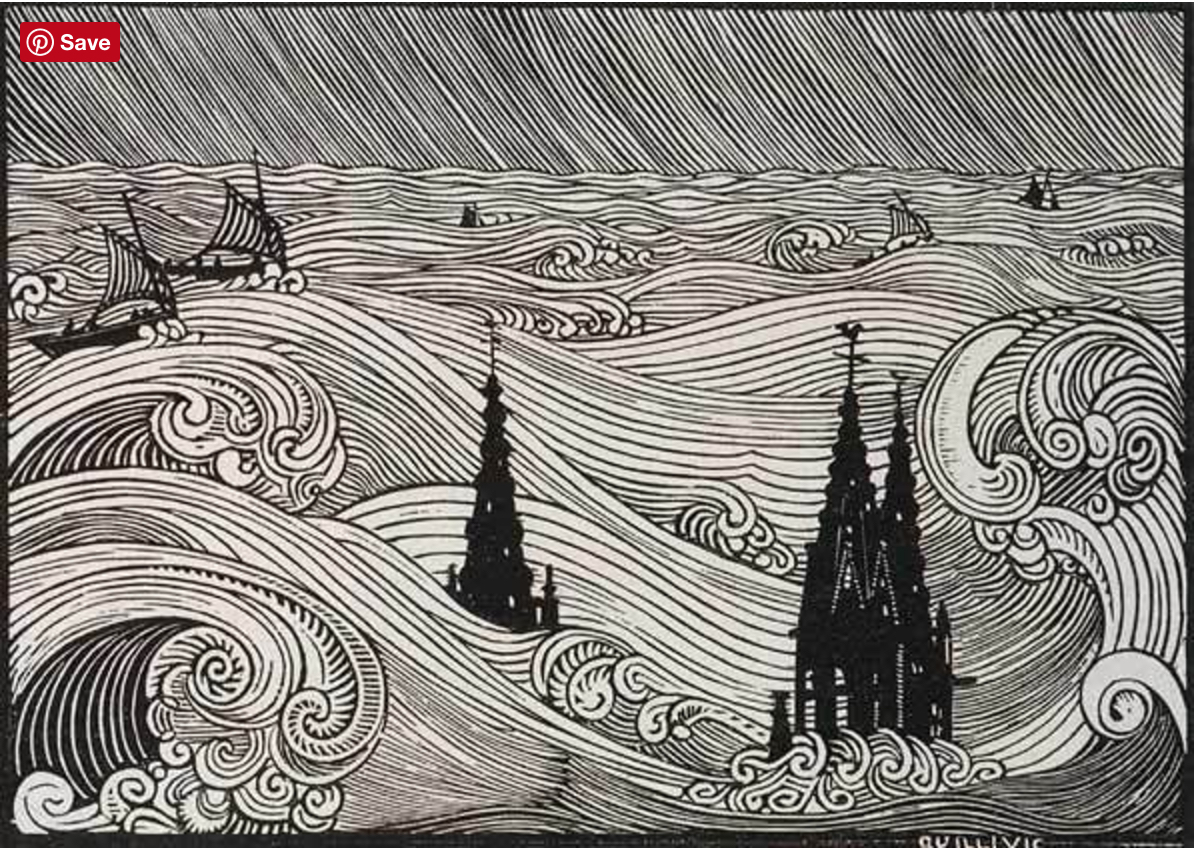 The City of Ys, Rene Quillivic woodcut (https://theartstack.com/artist/rene-quillivic/la-ville-d-ys-192)