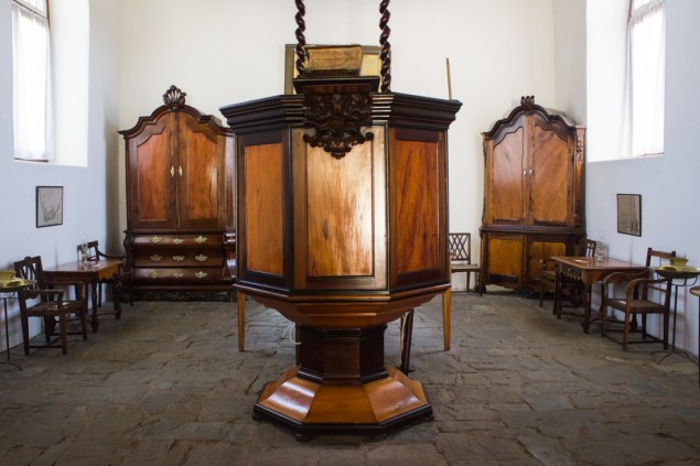 The pulpit and its canopy in the Old Church Museum in Tulbagh