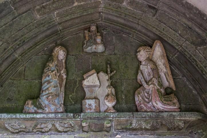 Visitation over the door inside the South Porch, Notre Dame de Rumengol