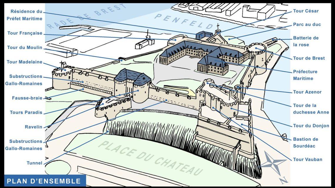 Plan of the Chateau de Brest (https://www.wikiwand.com/en/Ch%C3%A2teau_de_Brest#/13th_century-_The_tour_C.C3.A9sar)
