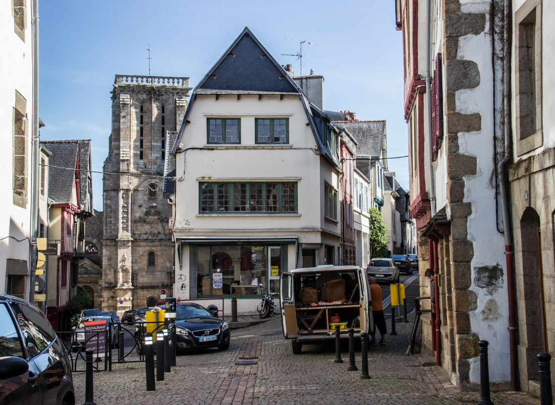 The old quarter of Morlaix, & the Church of St Mathieu