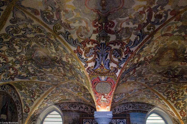 The painted and vaulted ceiling of The Chapter House