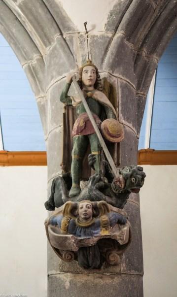 St Michael killing the dragon, 15C
