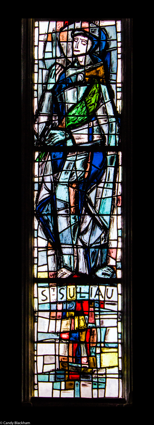St Suliau stained glass window in Sizun Church