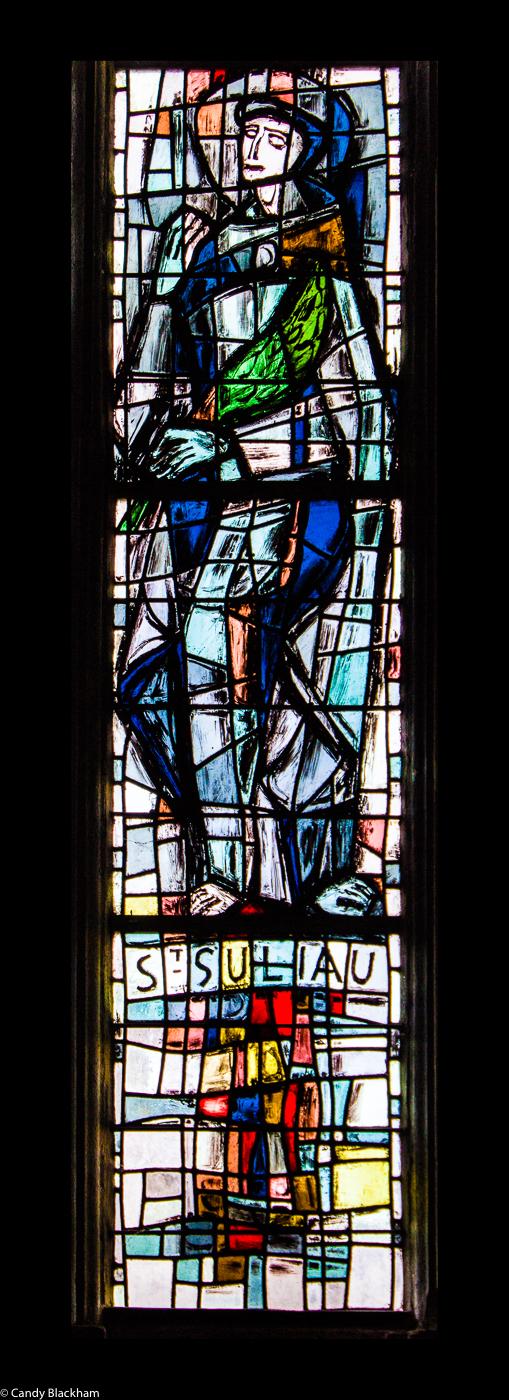 St Suliau stained glass window in Sizun Church