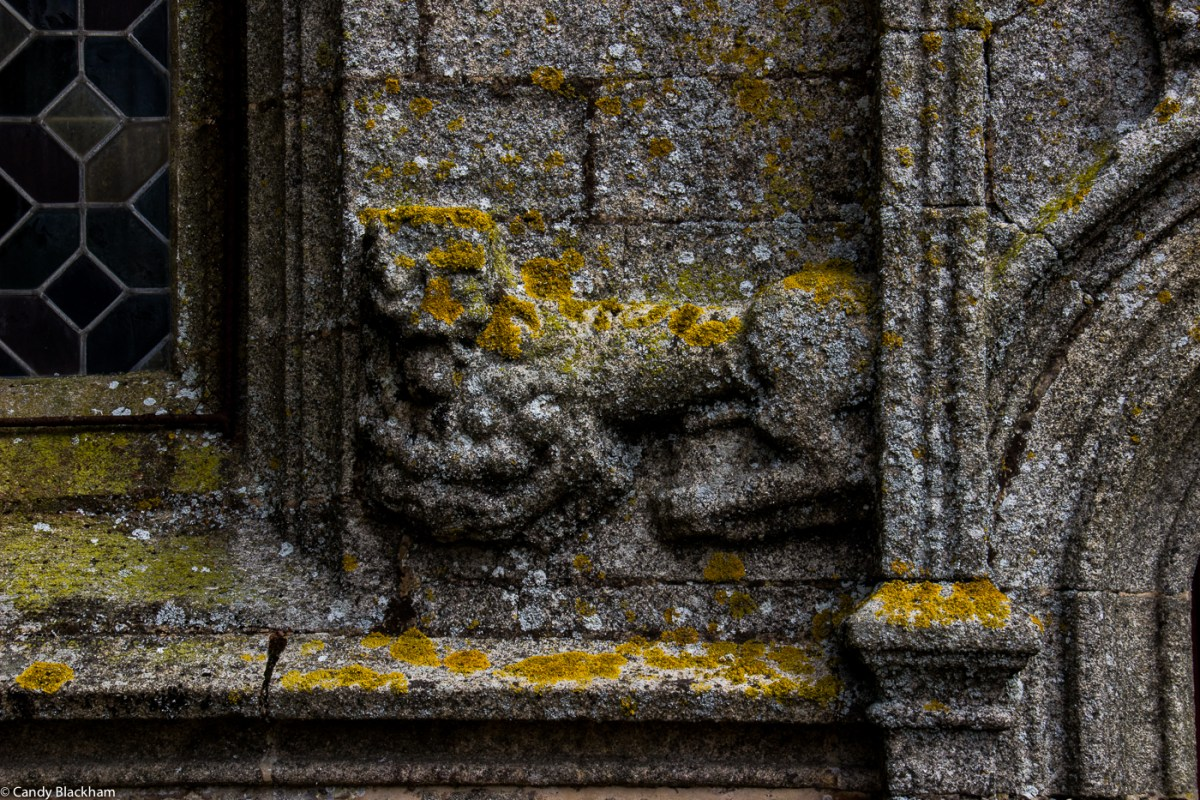 Lion carving on the exterior of the Church, Pleyben