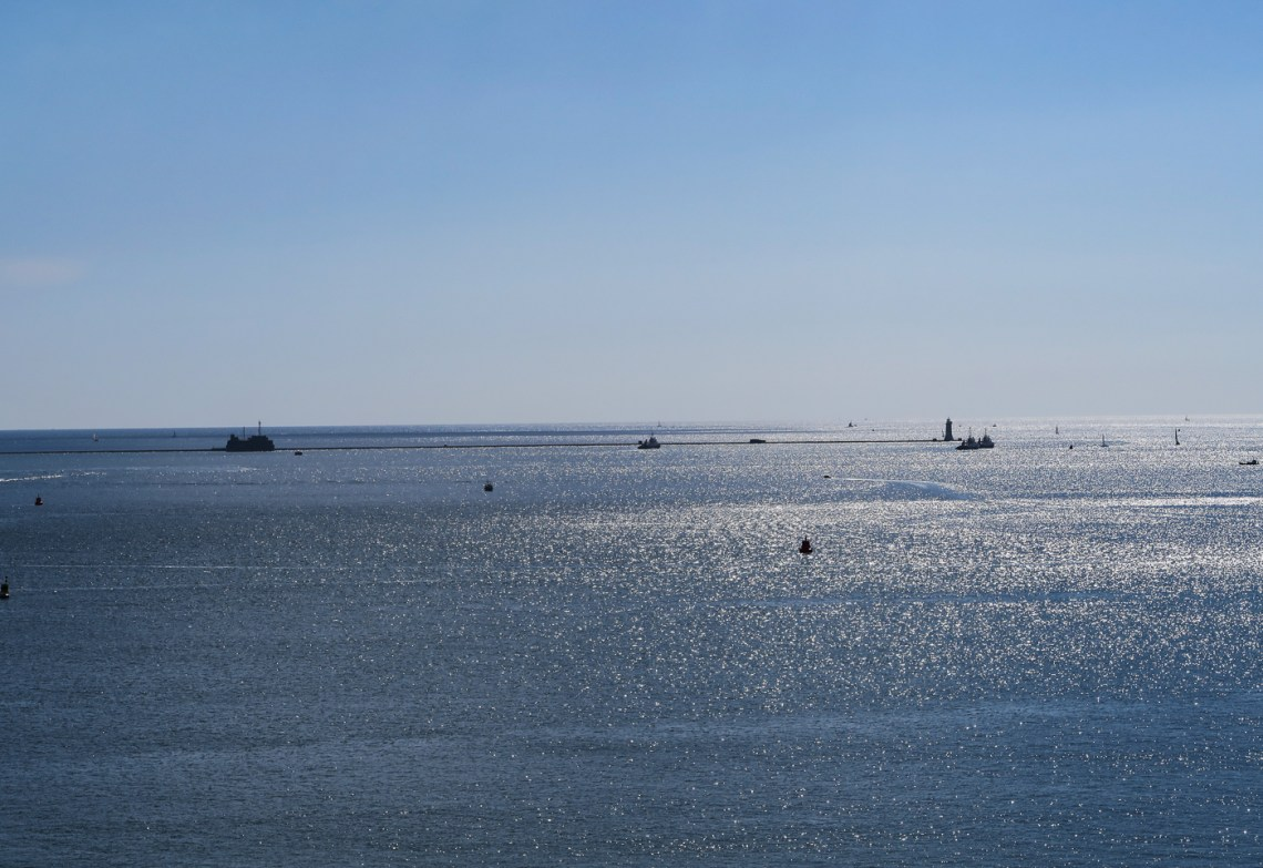 Blue sea and blue sky