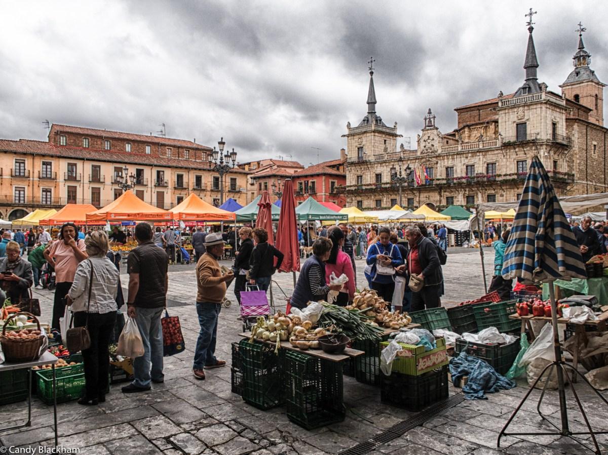 Market day in the Plaza Mayor, Leon
