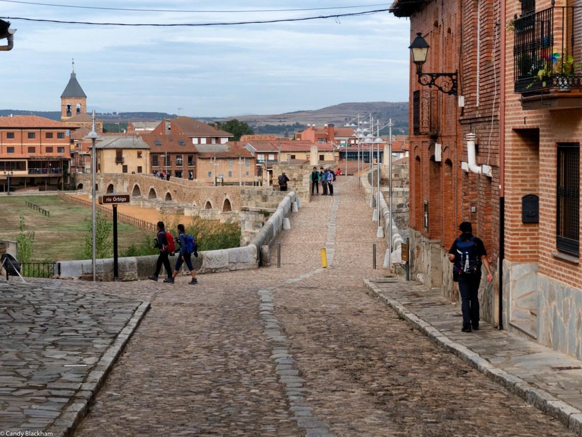 The Camino de Santiago over the bridge in Hospital de Orbigo