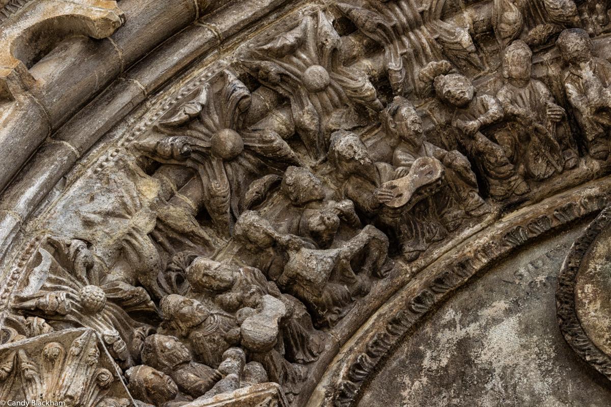 Apostles playing musical instruments