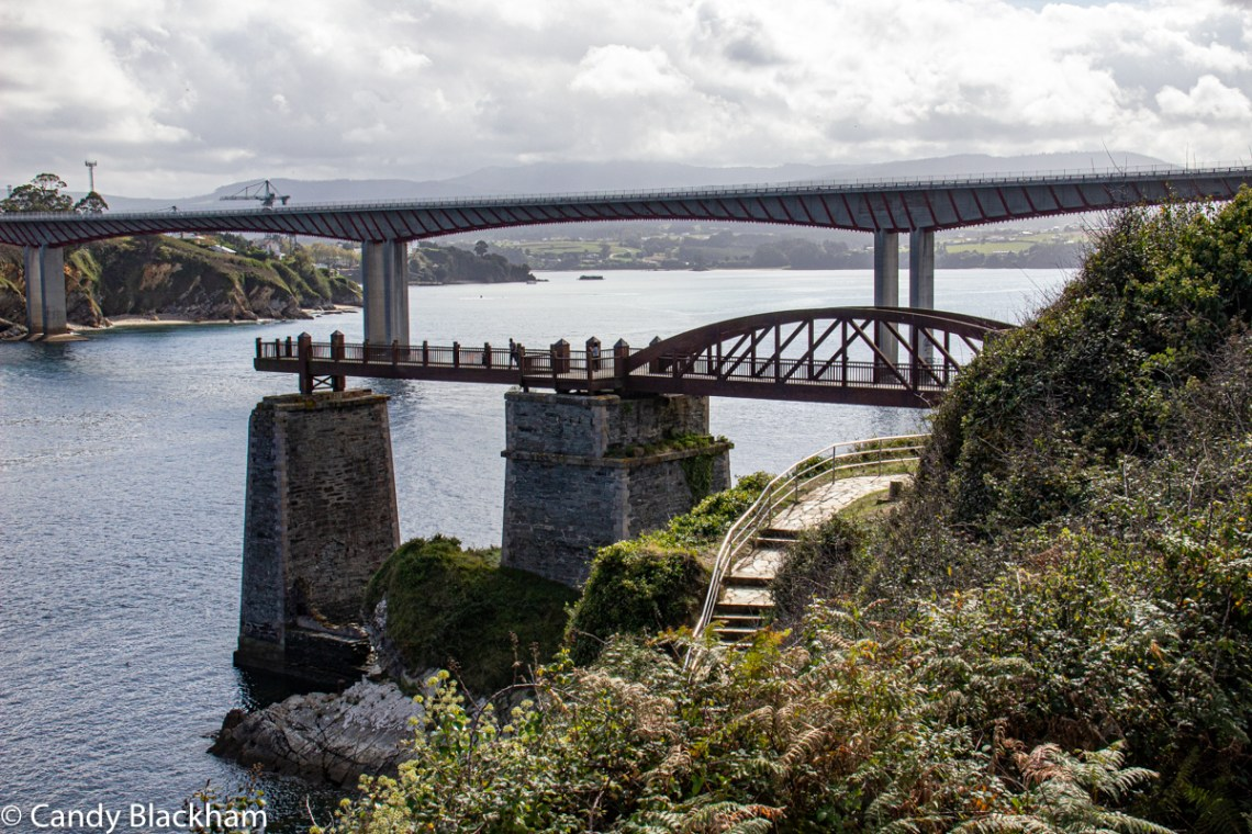 Iron ore railway bridge & Os Santos road bridge at Ribadeo on the River Eo
