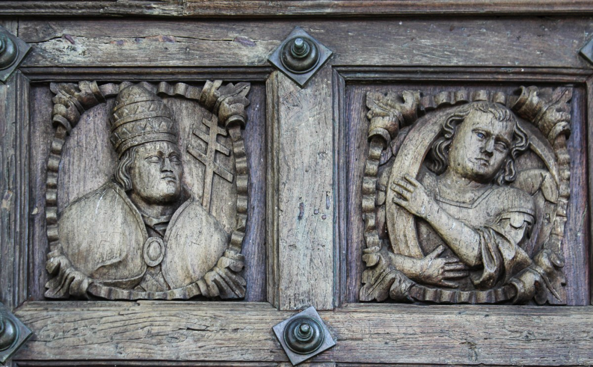 Carvings on the door of the Cathedral of Santa Maria in Tui