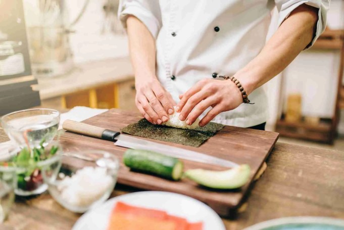 Sushi preparation, traditional japanese food