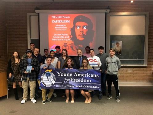 Photo provided by Hana Thomas - LMU YAF chapter with Dr. Burt Folsom last October