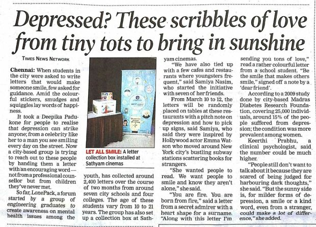 LonePack Letters featured in article in the Times of India