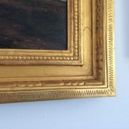 Carved and incised, burnished 22kt gold leaf based on a design by Vivian Akers