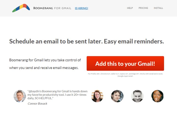 The Boomerang for Gmail homepage