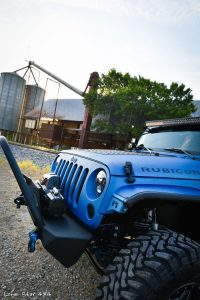 Sprayed Blue Jeep Rubicon Drivers Side View of Hood and Grille Guard