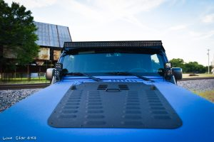 Sprayed Blue Jeep Rubicon Hood Top View