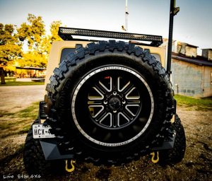 USMC 7.0 L Hemi Jeep Wrangler Rear View of Mounted Spare Tire