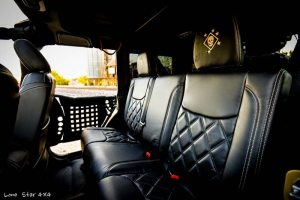 USMC 7.0 L Hemi Jeep Wrangler Custom Leather interior backseat