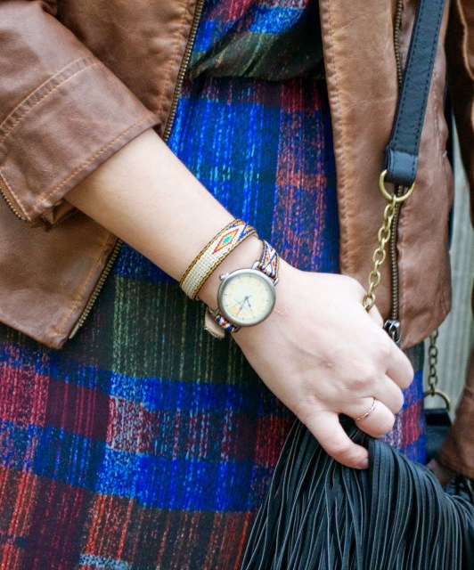 Anthropologie Plaid Dress, Anthropologie Plaid Maxi Dress, Anthropologie Andaz Maxi Dress, Andaz Dress, TOKYObayinc watch, TokyoBay Watch, Tokyko Bay Georgia Watch, Brown Vegan Leather Jacket, Brown Leather Jacket, Anthroplogie Brown Leather Jacket, Lone Star Looking Glass Blog