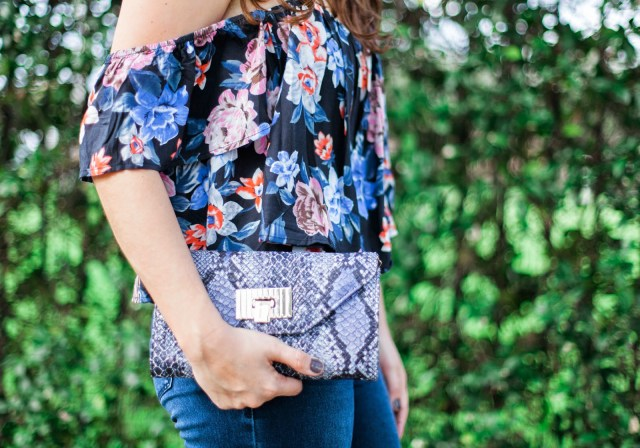 Floral Crop Top, Floral Off the Shoulder Crop Top, High Waisted Jeans, Handbag Heaven Clutch, Handbag Heaven Snakeskin clutch,