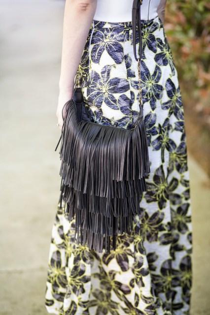 cavenders purse, cavenders fringe purse, black fringe purse, topshop hibiscus maxi skirt, topshop hibiscus skirt, topshop maxi skirt