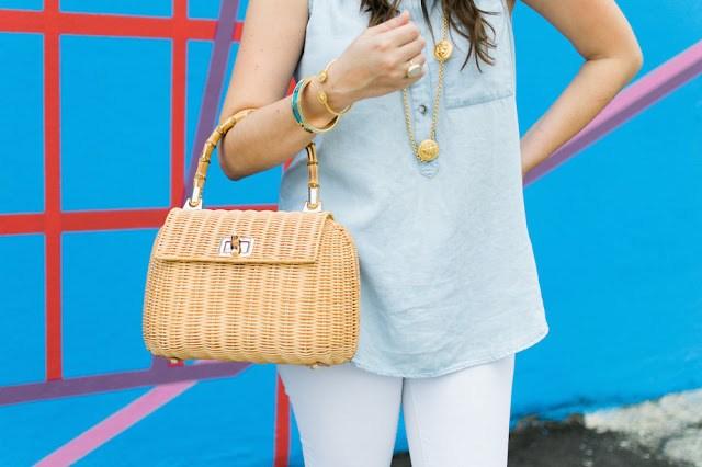 j mclaughlin picnic satchel, julie vos lion jewelry, francesca's chambray top, houston texas style blogger