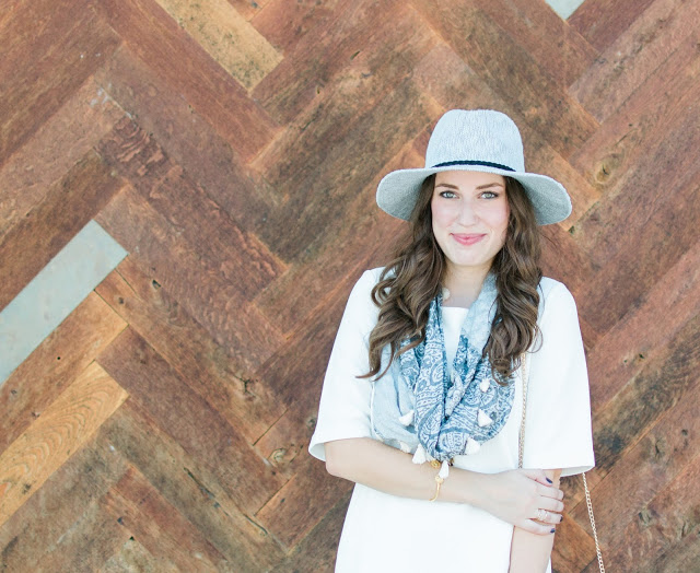 anthropologie tassel scarf, white dress, how to style a white dress for fall, brass clothing, brass white a-line dress, rancher hat, cowgirl chic