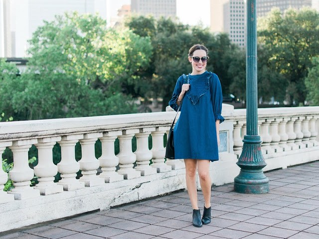 houston fashion blogger, pixie market, denim babydoll dress, sabine street houston texas, buffalo bayou bridge houston