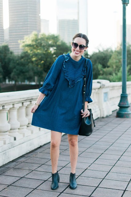 Pixie Market Denim Dress, denim babydoll dress, sabine street houston texas, ruffled denim babydoll dress, ruffled denim mini dress, pixie market dresses, pixie market blogger, houston blogger, houston fashion blogger