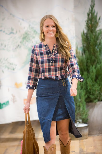 Anthropologie Denim Skirt, Holding Horses Denim Skirt, Anthropologie Denim Wrap Skirt, Anthropologie Plaid Shirt