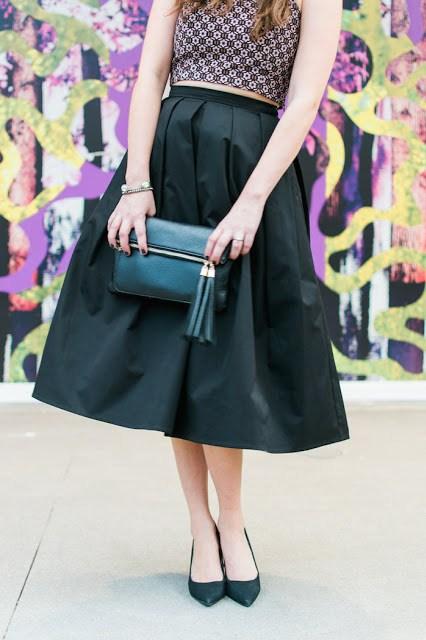 Flora Mia Claudia Skirt, black midi skirt, flora mia, flora mia black skirt, black midi skirt with a crop top, how to wear a black midi skirt