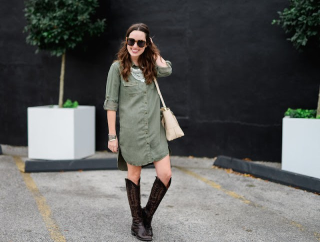 ruthie grace boutique olive shirt dress, mayra cowboy boots, old gringo tall cowboy boots, henri bendel wyatt satchel, karen walker sunglasses, happiness boutique necklace, the lone star looking glass, houston rodeo fashion, rodeo style 2016, houston fashion bloggers, rodeo houston fashion