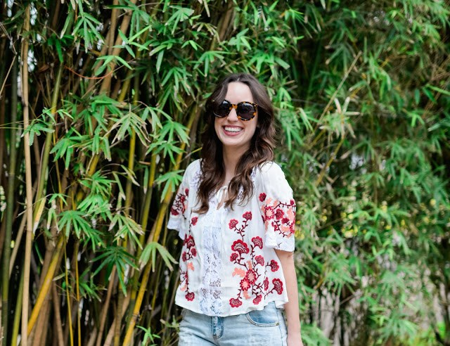 planet blue, karen walker sunglasses, for love and lemons, red and white embroidered top, red and white embroidered lace top, for love and lemons embroidered top