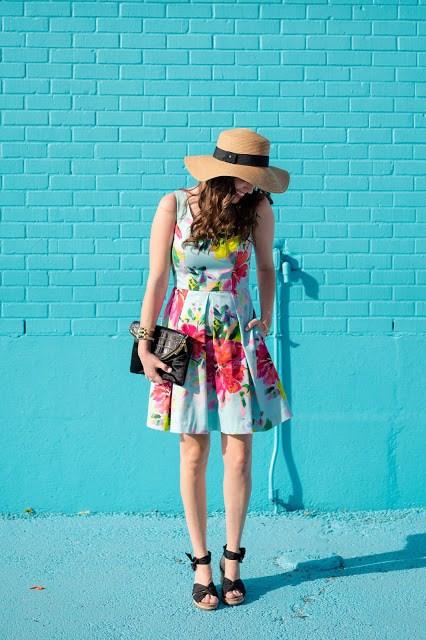 Trina Turk Aniya Dress, Trina Turk Printed Dresses, Trina Turk Spring 2016, Trina Turk Summer 2016, Trina Turk blue printed dress, houston fashion blogger, houston style blogger, ugg starla wedges, ugg boater hat, henri bendel debutante clutch, ishayra cuff