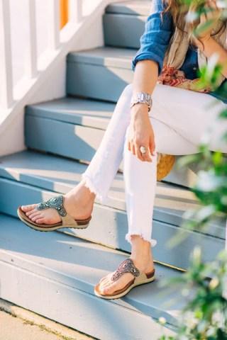 dansko embellished sandals, true religion white jeans, j mclaughling spring 2016